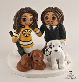 Bride And Groom Soccer and Hockey Fans Cake Topper