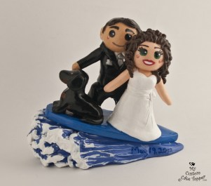 Bride And Groom Surfing Couple Cake Topper