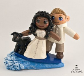 Bride And Groom Surfing Wedding Cake Topper