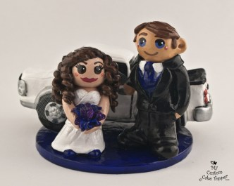 Bride And Groom Standing Infront Of Truck Cake Topper