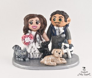 Bride And Groom Vets With Pets Wedding Cake Topper