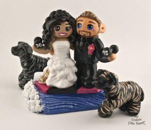 Bride And Groom Wakeboarding With Dogs Cake Topper