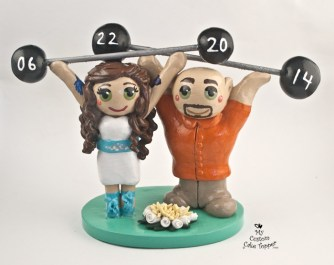 Bride And Groom Weight Lifting Cake Topper