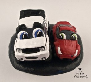 Car and Truck In Love Cake Topper