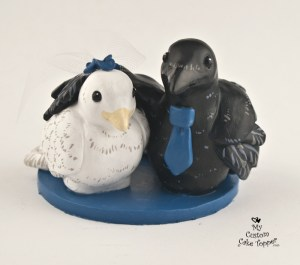 Crow and Dove Wedding Cake Topper