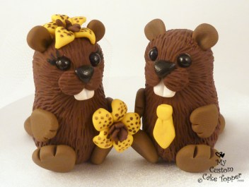 Cute Beavers Cake Topper