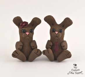 Cute Rabbits Cake Topper