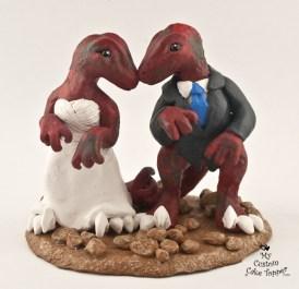 Dinosaurs Raptors Bride and Groom Wedding Cake Topper