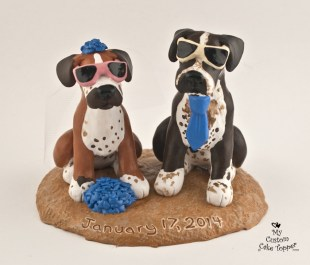 Boxer Dogs Wedding Cake Topper