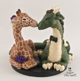 Dragon and Giraffe Custom Cake Topper