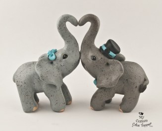 Elephants Making a Heart Cake Topper
