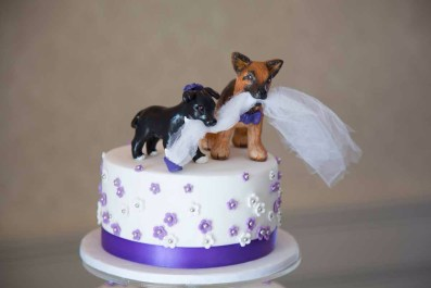 Gaebrielle's Custom Dogs Wedding Cake Topper