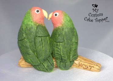 Gazing Love Birds Cake Topper