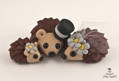 Happy Hedgehogs Families Daisies Cake Topper