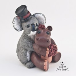 Koala and Hippo In Love Cake Topper