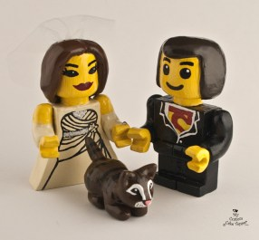 Lego Bride And Groom With Cat Wedding Cake Topper