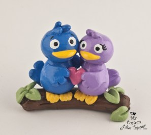 Cute Birds on a Branch Cake Topper