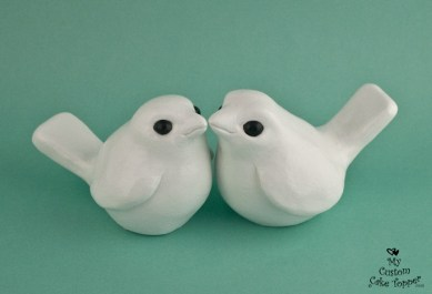 Simple Love Birds Wedding Cake Topper White