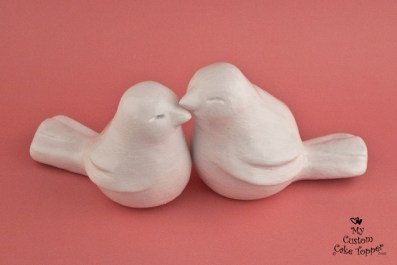 Elegant Love Birds Wedding Cake Topper White