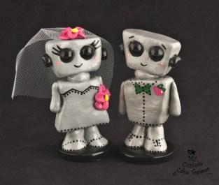 Love Bots Kawaii Wedding Cake Topper