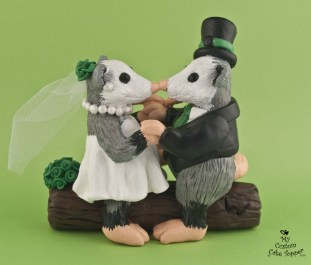 Opossums On Log Wedding Cake Topper