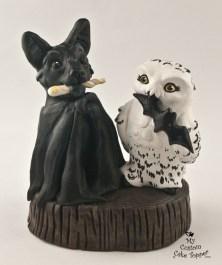 Bat and Owl Wedding Cake Topper