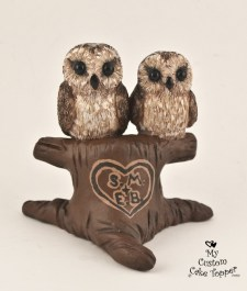 Brown Owls in a Tree Wedding Cake Topper