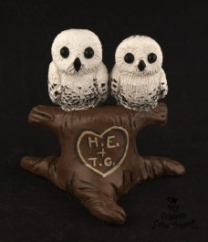 White Owls in a Tree Wedding Cake Topper