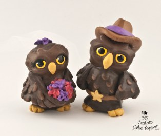 Cute Owls Cartoon Wedding Cake Topper