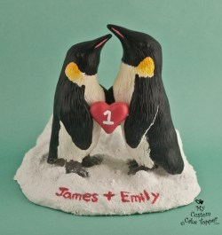 Realistic Penguins Wedding Cake Topper