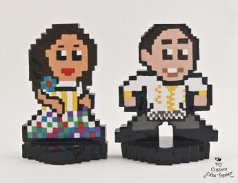 Pixel Bride And Groom 8Bit Wedding Cake Topper