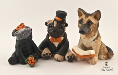 Pugs Black and Fawn and Minister German Shepherd