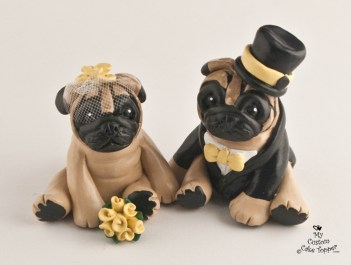 Pugs Dogs Wedding Cake Topper