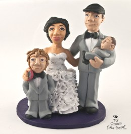 Realistic Bride And Groom With Boys Custom Wedding Cake Topper