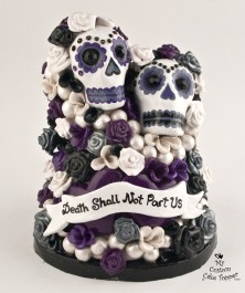Skulls With Flowers Cake Topper