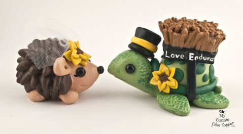 Turtle and Hedgehog Love Endures All Things Cake Topper