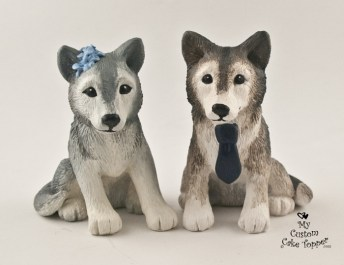 Grey Wolves Wedding Cake Topper