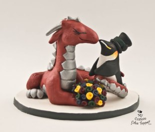 Dragon And Penguin Cake Topper