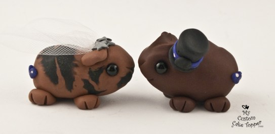 Guinea Pig Love Brown Custom Wedding Cake Topper