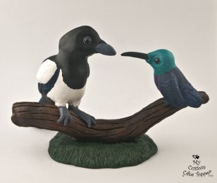 Magpie and Humming Bird Realistic Cake Topper Sculpture