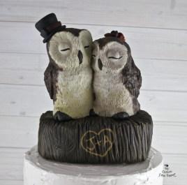 Realistic Barn Owls Wedding Cake Topper