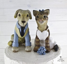 Dog and Cat in Wedding Attire Cake Topper