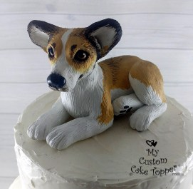 Realistic Corgi Dog Custom Wedding Cake Topper