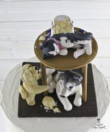 Dogs and Cat on Table Wrecked the Wedding Cake 2