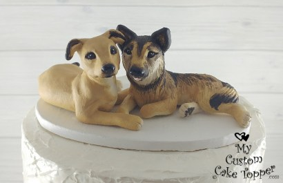 Dogs Laying Down Kristina's Miniature Wedding Cake Topper
