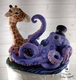 Giraffe and Octopus Realistic Animals Custom Cake Topper