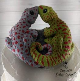 Lizards Geckos Green and Grey Cake Topper