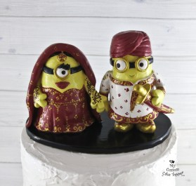 Minion Sikh Bride and Groom Wedding Cake Topper