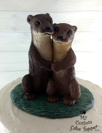 River Otters Cuddling Wedding Cake Topper