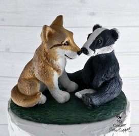 Wolf and Badger Realistic Animals Wedding Cake Topper